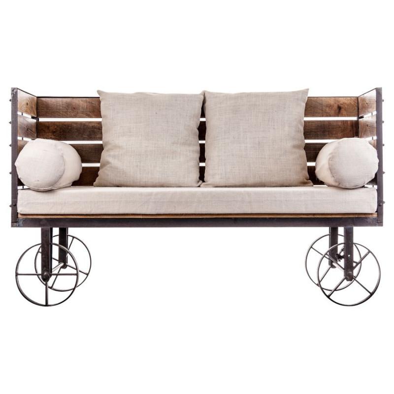 canap industriel original sur roues en bois et m tal. Black Bedroom Furniture Sets. Home Design Ideas
