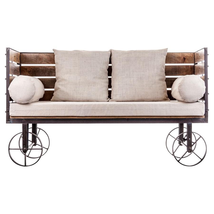 canapé industriel original sur roues en bois et métal Vical Home Vi... - Canapé Industriel