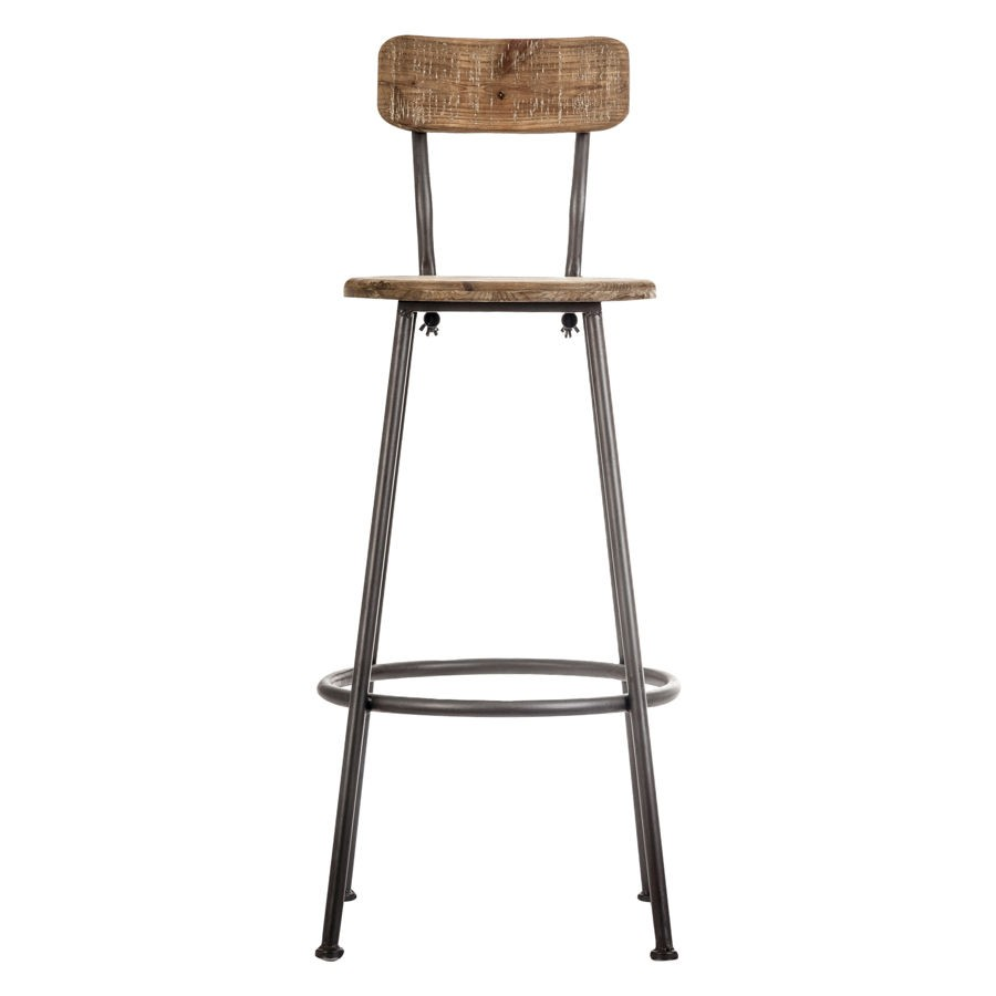 tabouret de bar avec dossier industriel en bois et mtal. Black Bedroom Furniture Sets. Home Design Ideas