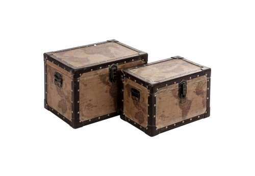 set de 2 malles mappemonde marron Vical Home