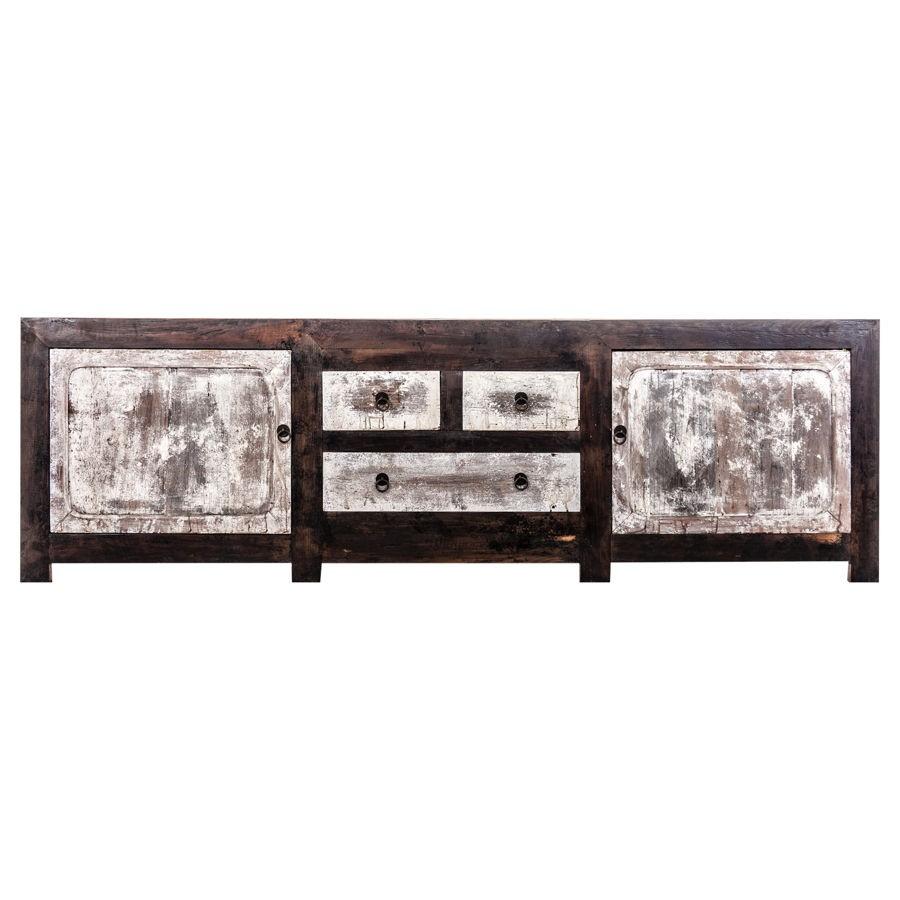 meuble tv 2 portes et 3 tiroirs en bois patiné noir et blanc vieill
