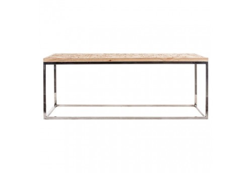 table basse de salon rectangulaire avec un plateau en bois naturel sculpté et pied chrome Vical Home