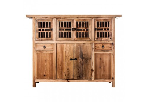 buffet 6 portes et 2 tiroirs style chinois en bois naturel vical ho. Black Bedroom Furniture Sets. Home Design Ideas
