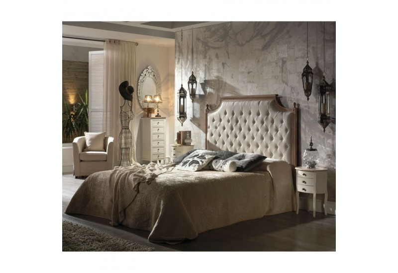 t te de lit 2 personnes capitonn e en tissus lin et bois blanchie c. Black Bedroom Furniture Sets. Home Design Ideas