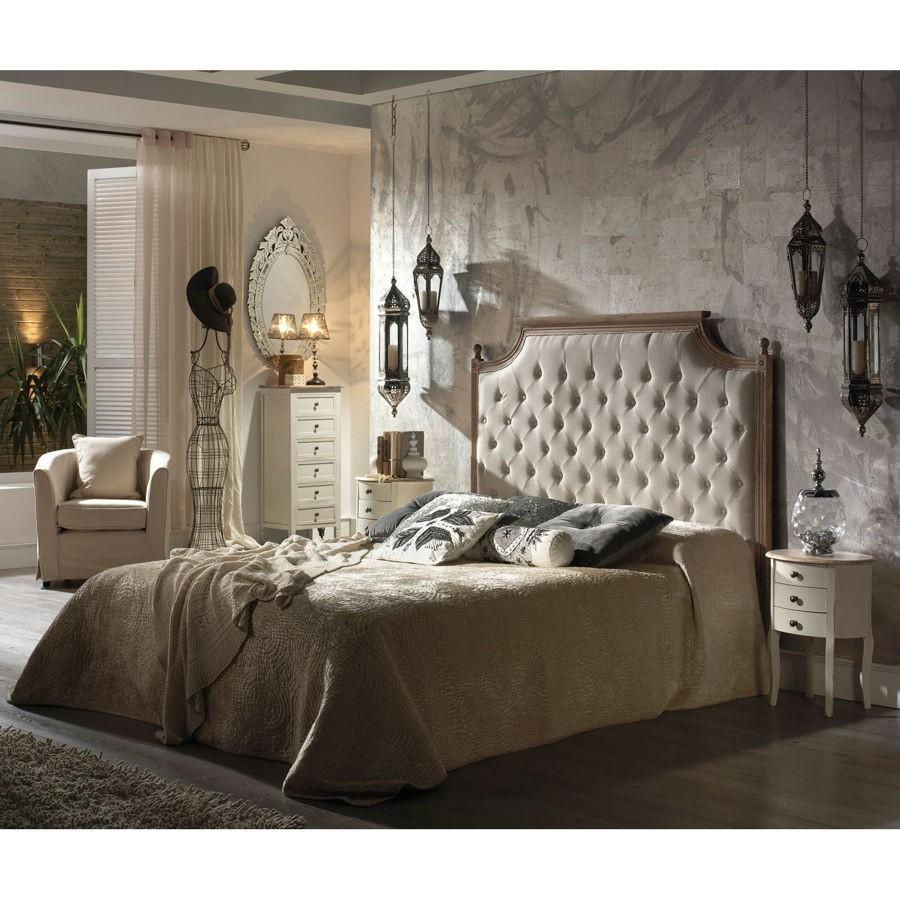 Tete De Lit Voile tête de lit 2 personnes capitonnée en tissus lin et bois blanchie charme  vical home