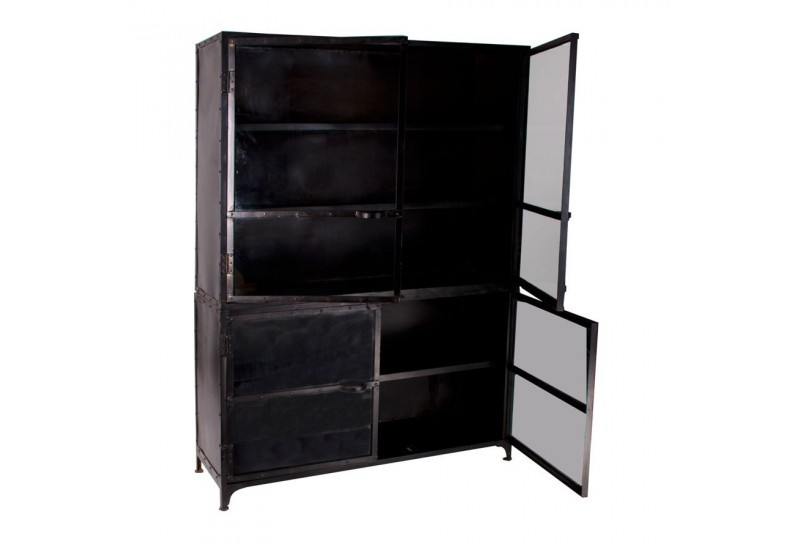 biblioth que 4 portes en m tal noir vical home vical home 17873. Black Bedroom Furniture Sets. Home Design Ideas