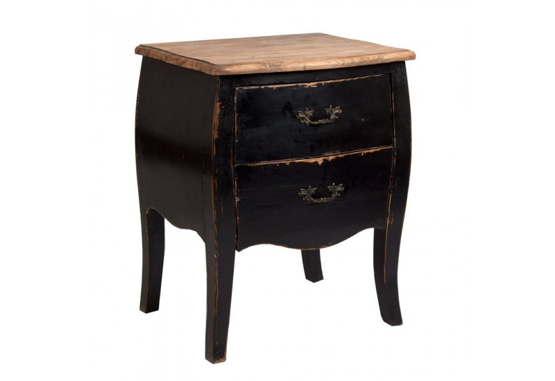 Table de chevet de charme chic en orme massif noir plateau for Table de chevet noire