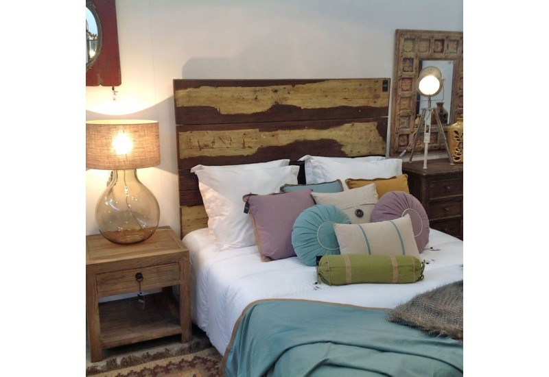 t te de lit vintage 2 personnes en bois acajou multicolore vical ho. Black Bedroom Furniture Sets. Home Design Ideas