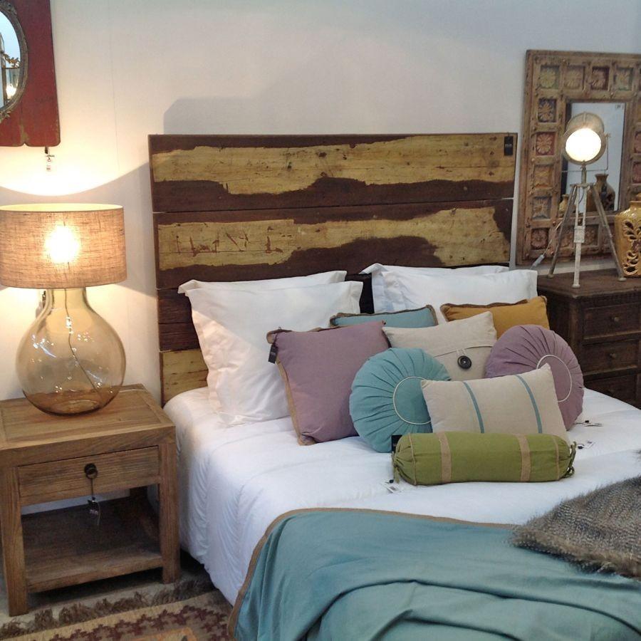 Tete De Lit Voile tête de lit vintage 2 personnes en bois acajou multicolore vical home