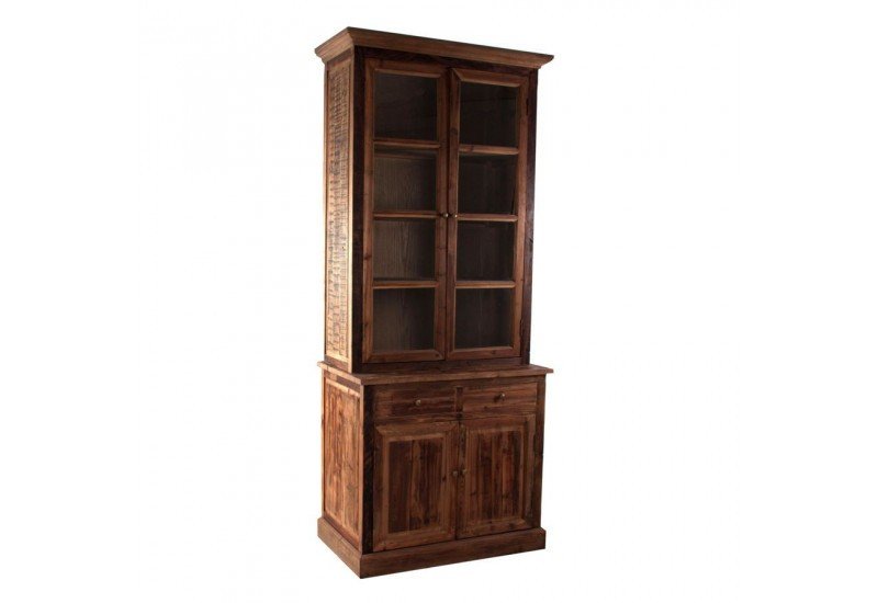 buffet 2 corps chic en bois naturel vitrine 2 portes et. Black Bedroom Furniture Sets. Home Design Ideas