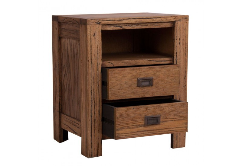 Table de chevet en bois exotique moderne 2 tiroirs 1 niche vical ho for Table de chevet campagne
