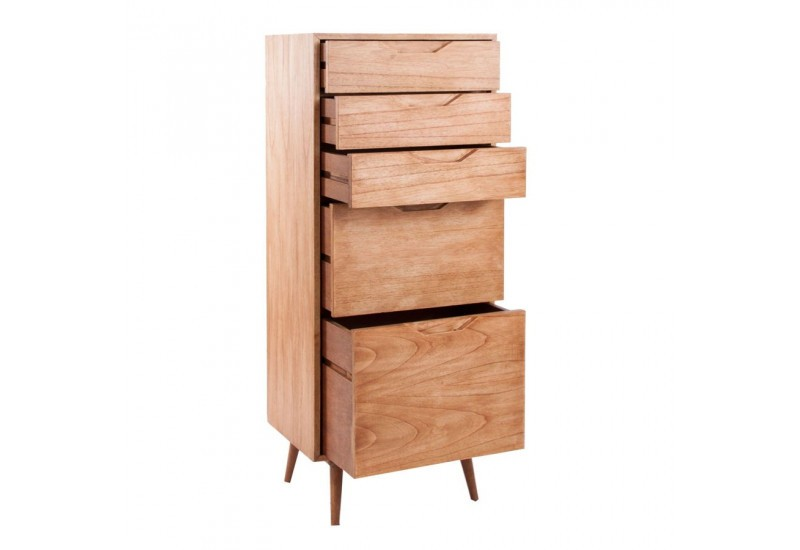 chiffonnier en bois exotique 5 tiroirs style scandinave. Black Bedroom Furniture Sets. Home Design Ideas