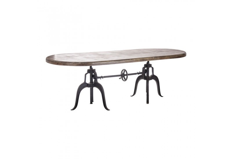 Table manger industrielle originale ovale en m tal et bois r glab - Table a manger industrielle ...