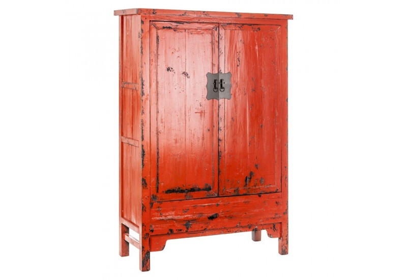 armoire chinoise 2 portes rouge orang e en bois vieilli vical home. Black Bedroom Furniture Sets. Home Design Ideas