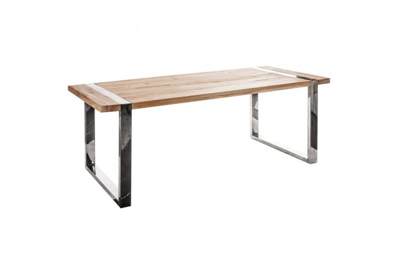 Table manger rectangulaire en bois et pieds chrome en for Table a manger bois brut
