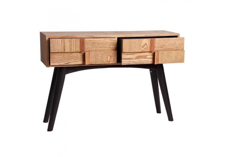 console scandinave tiroirs vein bois naturel et noir vical home vi. Black Bedroom Furniture Sets. Home Design Ideas