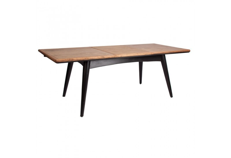 Table manger scandinave rectangulaire rallonge vein for Table noir rallonge