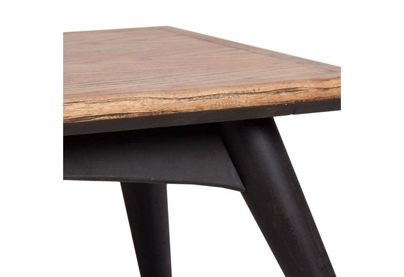 Table basse scandinave rectangulaire vein en bois naturel - Table noir et bois ...