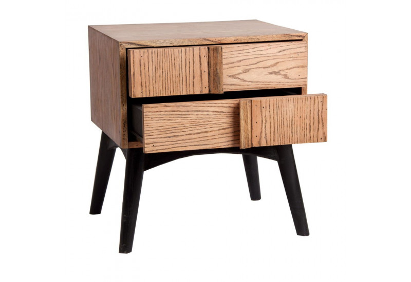Table de chevet scandinave 2 tiroirs en bois naturel et noir vical for Table de chevet campagne