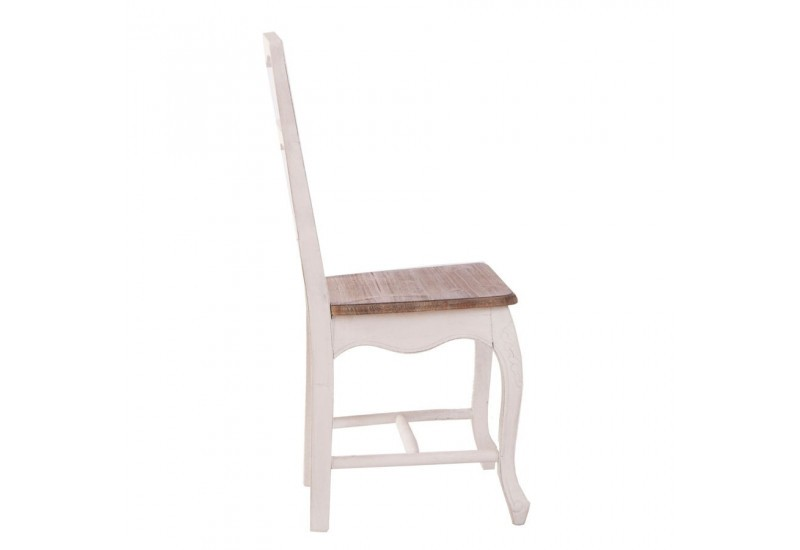 Chaise campagne en bois patin blanc et assise naturel for Chaise bois blanc