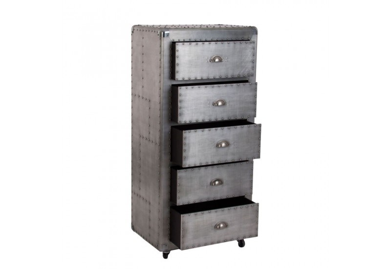chiffonnier roulettes industriel tout m tal clout avec 5 tiroirs. Black Bedroom Furniture Sets. Home Design Ideas