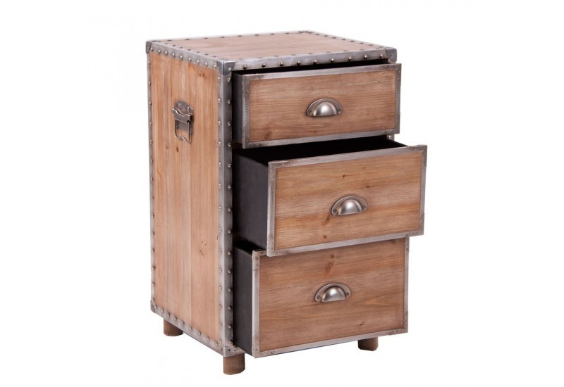 petite commode industriel en forme de caisson en bois et. Black Bedroom Furniture Sets. Home Design Ideas