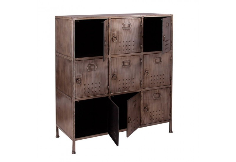 meuble de rangement industriel en m tal bross vieilli gris 9 casie. Black Bedroom Furniture Sets. Home Design Ideas