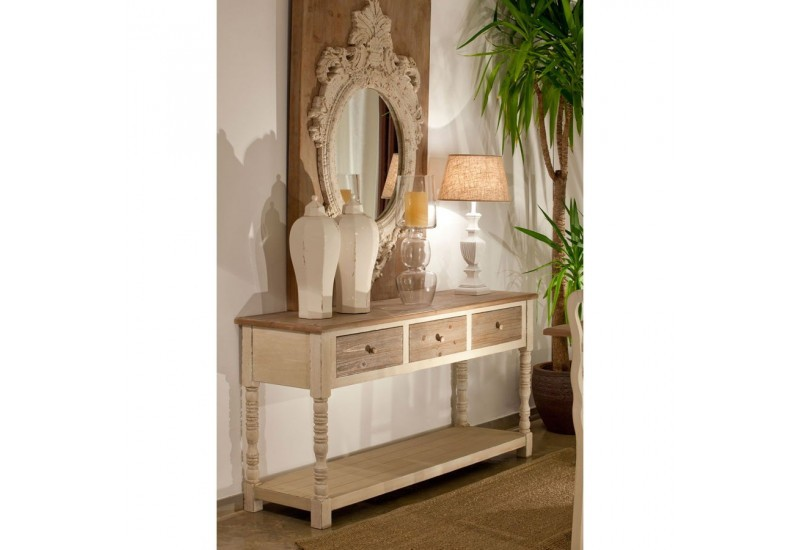 drapier campagne en bois patin blanc et naturel 2 plateaux et 3 ti. Black Bedroom Furniture Sets. Home Design Ideas