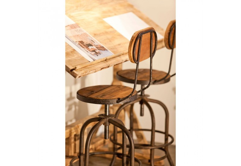 tabouret de bar avec dossier industriel en bois et m tal. Black Bedroom Furniture Sets. Home Design Ideas