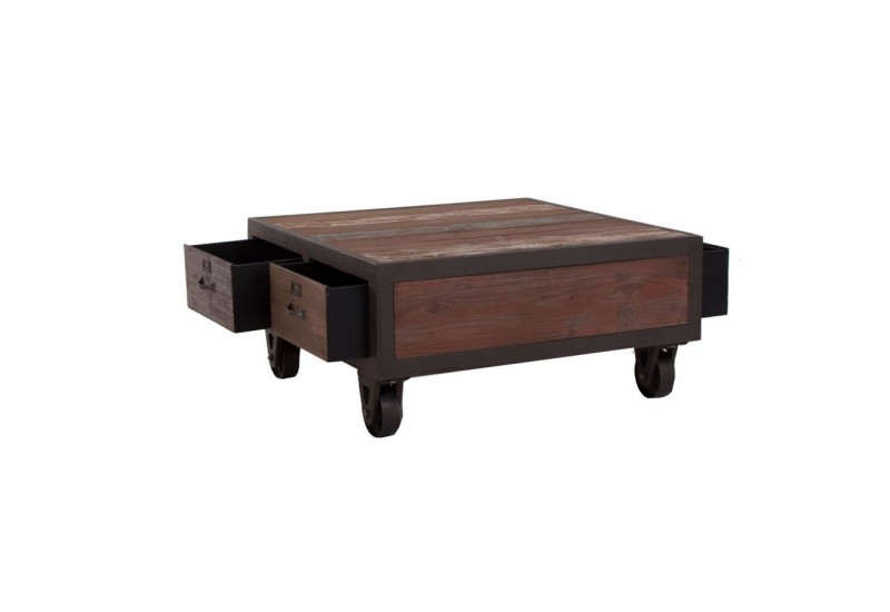 Table basse bois avec roulettes for Table basse carre industriel