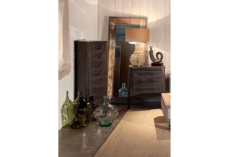 chiffonnier industriel 8 tiroirs en m tal noir vical home vical hom. Black Bedroom Furniture Sets. Home Design Ideas