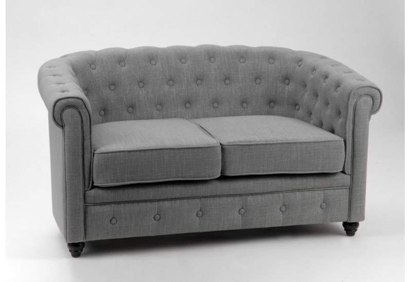 banquette chesterfield 2 places tissu coton gris pieds. Black Bedroom Furniture Sets. Home Design Ideas