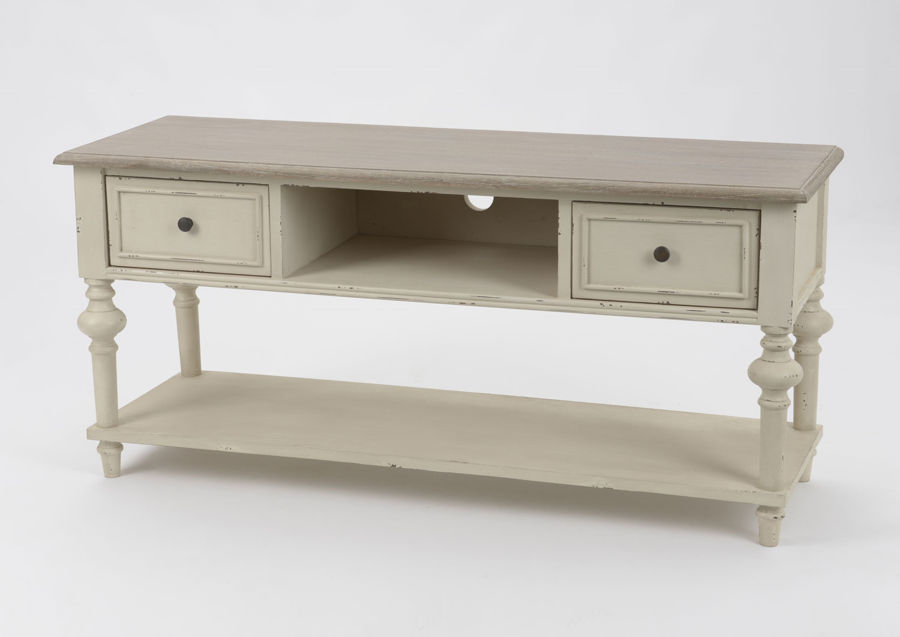 meuble tv en bois patine vieilli beige 2 tiroirs lgende amadeus am - Meuble Tv Blanc Patine