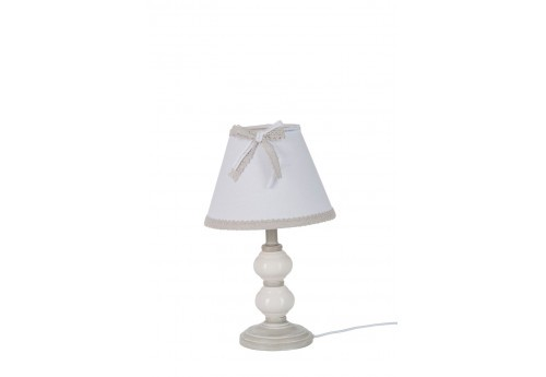 petite lampe de chevet romantique gr ge 20x20x35cm j line j line by. Black Bedroom Furniture Sets. Home Design Ideas