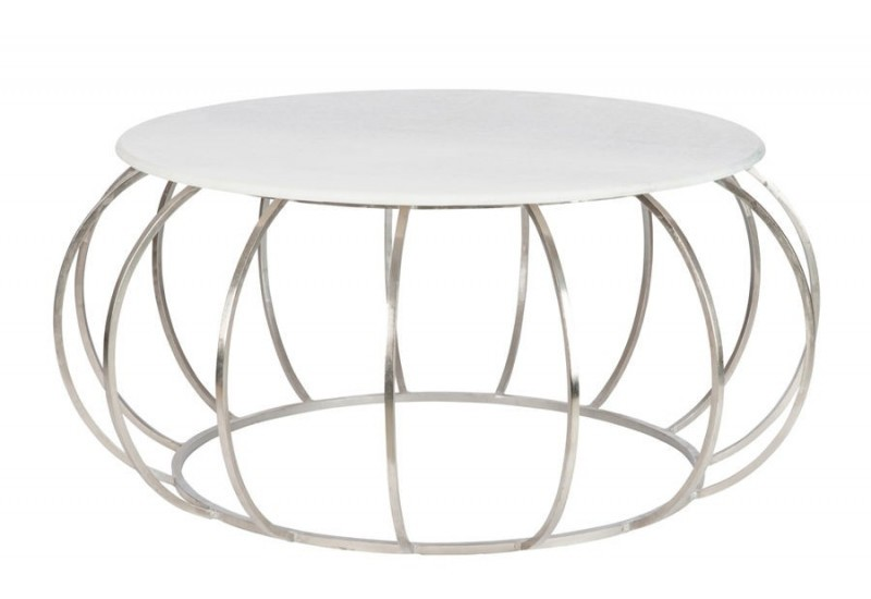 Table basse ronde moderne en m tal argent et plateau - Table basse metal ronde ...