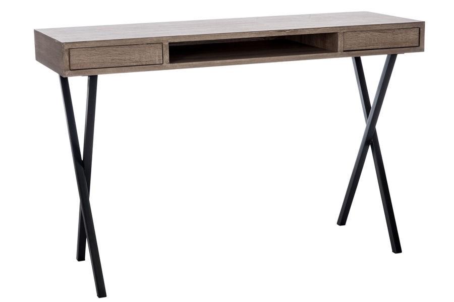 Bureau zig zag 2 tiroirs en bois brut et pieds en croix bois noir 1
