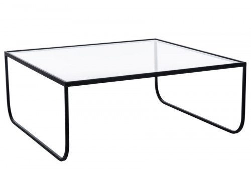 Table basse carr en fer forge noir et plateau verre for Table fer forge plateau verre