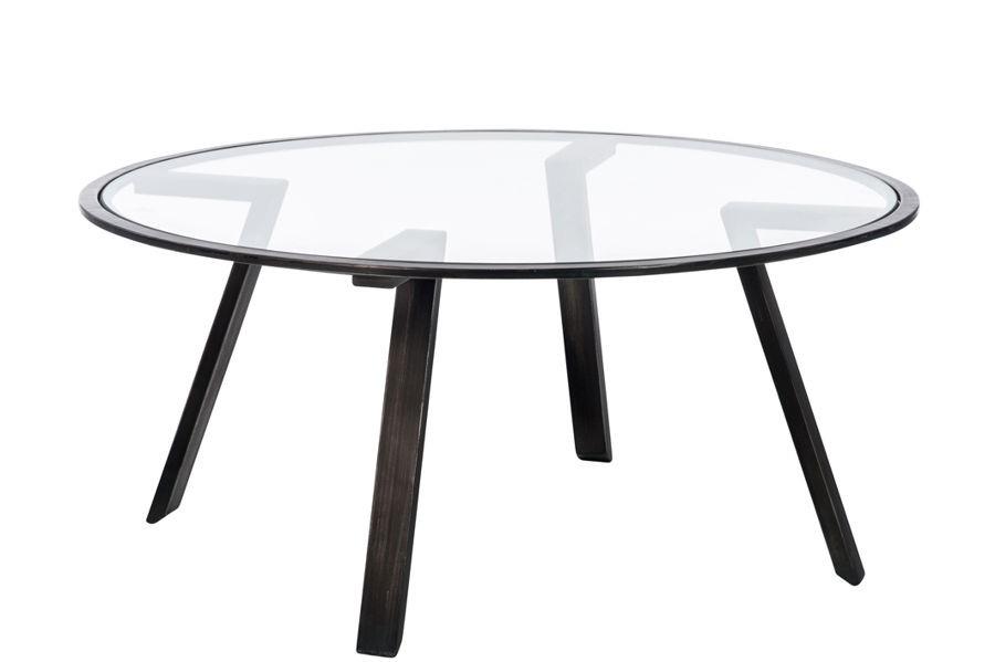 table basse ronde en fer forgé gris et plateau verre 85x85x38cm j-l
