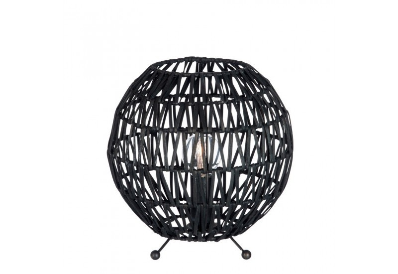lampe boule m tal et rotin noir 20x20x22cm j line j line by jolipa. Black Bedroom Furniture Sets. Home Design Ideas
