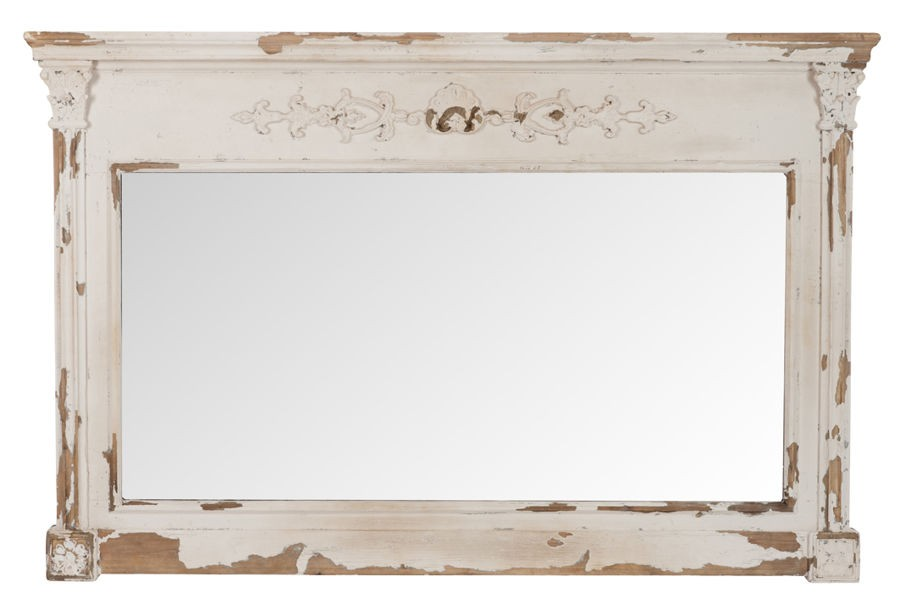 miroir rectangulaire chic avec corniche en bois vieilli blanc et br