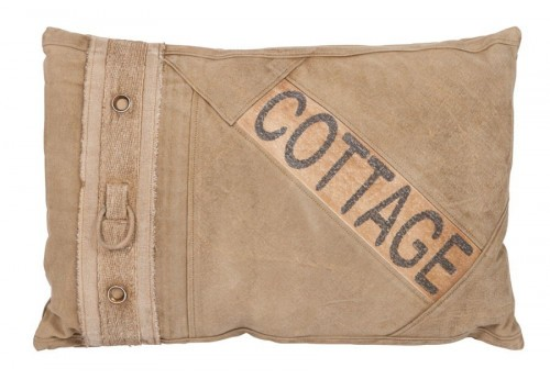coussin rectangle cottage coton vieilli beige 60X40CM J-Line