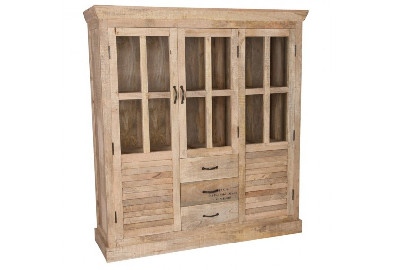 armoire vitrine vintage 2 portes en bois brut 145x45x160cm. Black Bedroom Furniture Sets. Home Design Ideas