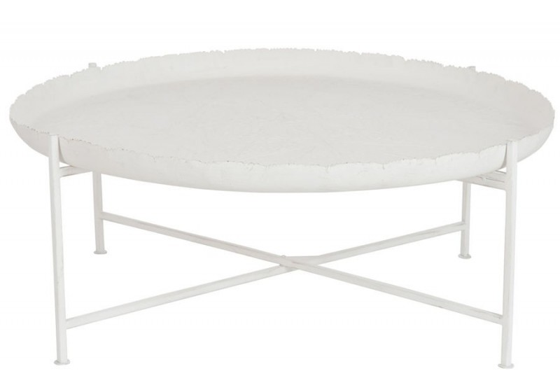 Table basse ronde orientale en m tal blanc 91x91x35cm j - Table basse ronde metal ...