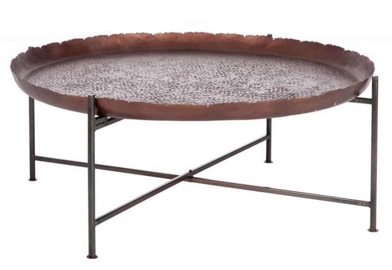 Table basse ronde orientale en m tal marron fonc 91x91x35cm j line - Table basse en metal ...