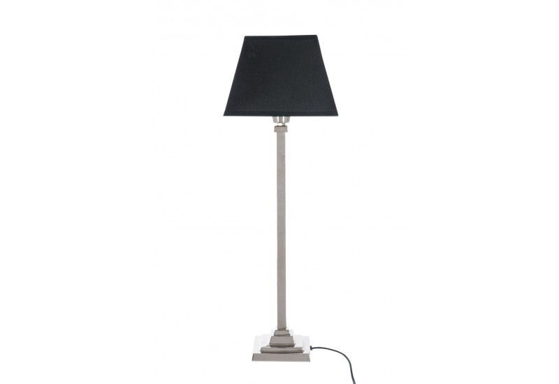 lampe classique pied chrome abat jour noir 12x12x48cm j line j line. Black Bedroom Furniture Sets. Home Design Ideas