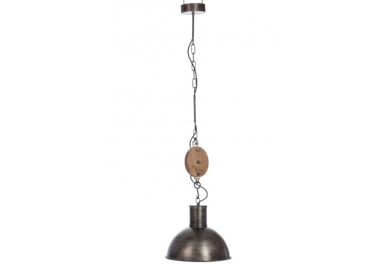 Suspension industriel poulie en bois brut et m tal - Suspension metal industriel ...