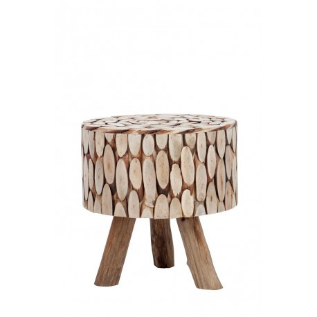 tabouret scandinave en tronc d 39 arbre bois naturel 43x43x46cm j line. Black Bedroom Furniture Sets. Home Design Ideas