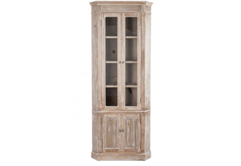 vitrine d 39 angle campagne chic en bois vieilli blanchi 2 vitrines et. Black Bedroom Furniture Sets. Home Design Ideas