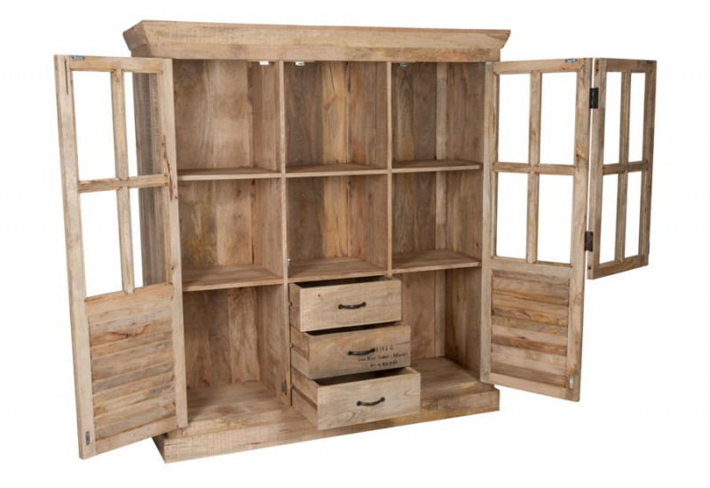 armoire vitrine vintage 2 portes en bois brut 145x45x160cm j line j. Black Bedroom Furniture Sets. Home Design Ideas