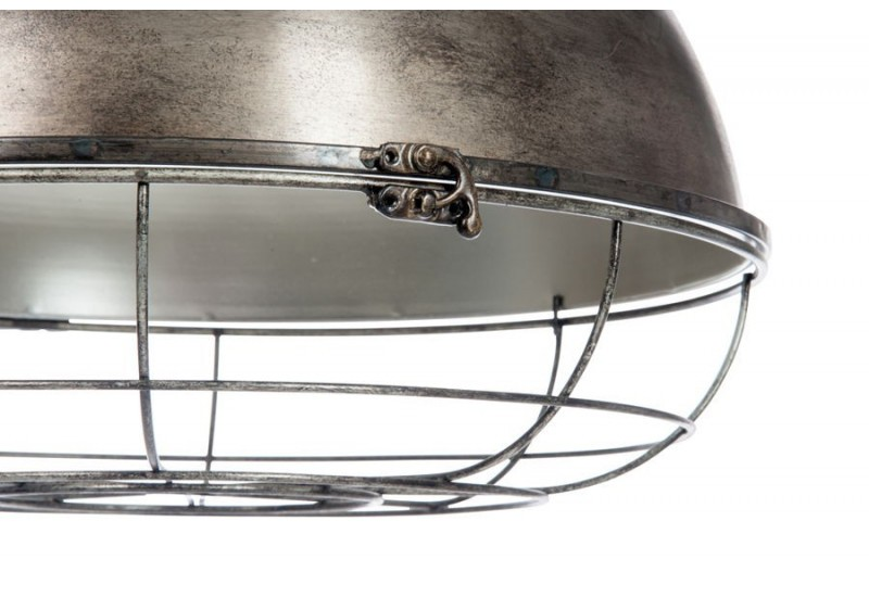 Suspension industriel poulie en bois gris et m tal - Suspension metal industriel ...